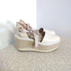 Tory Burch Ivory Leather Platform Sandals